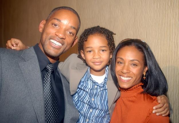 Джейден Смит с отцом и мамой